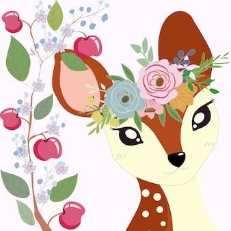 Pequeño ciervo lindo en marco de rama de manzana