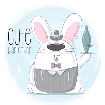 Pequeño conejito mano dibujado animal ilustración-vector