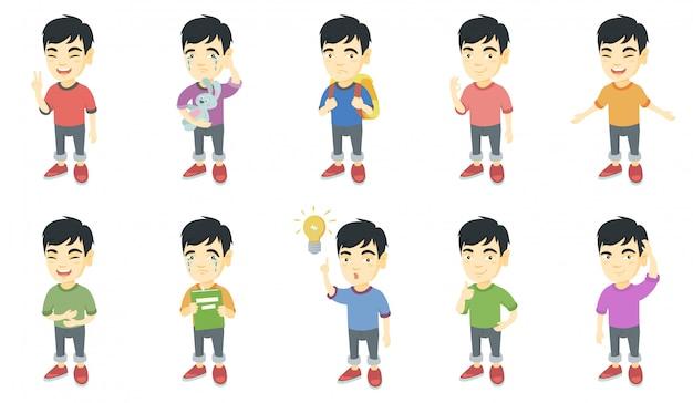 Pequeño conjunto de caracteres del muchacho asiático