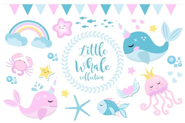 Pequeño conjunto de unicornio ballena, estilo moderno de dibujos animados. bonita y fantástica colección para niños con habitantes del mar, peces, submarinos, medusas, cangrejos, arcoiris. ilustración