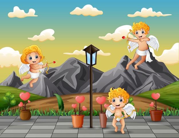 Pequeño cupido de dibujos animados jugando en la ilustración del parque