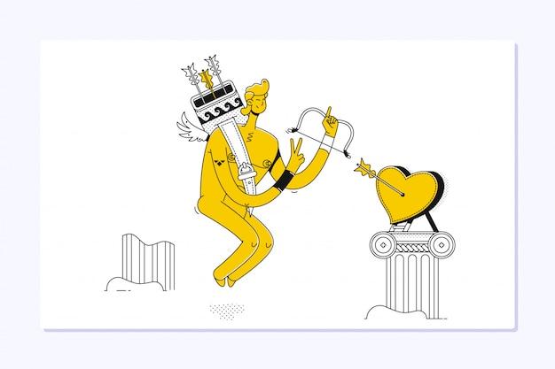 Pequeño cupido divertido con arco y flecha. ilustración de un día de san valentín