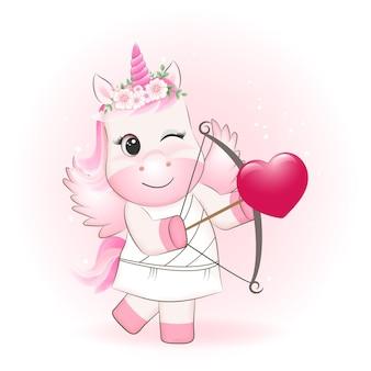 Pequeño cupido unicornio y corazón concepto de día de san valentín