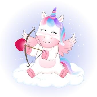 Pequeño cupido unicornio en la nube