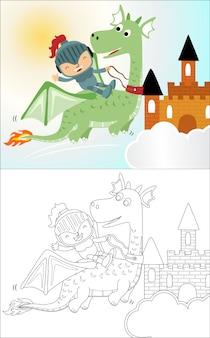 Pequeño dibujo animado caballero divertido en dragón