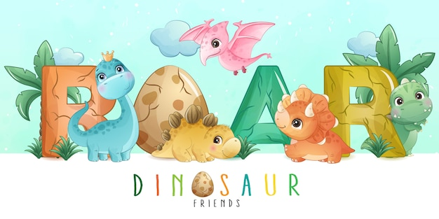 Pequeño dinosaurio lindo con colección de acuarela