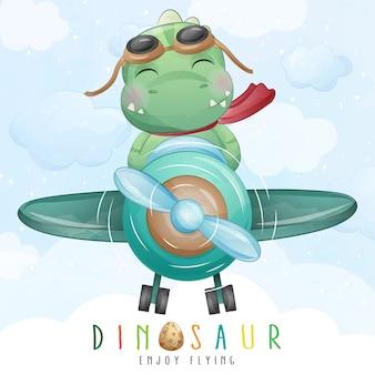 Pequeño dinosaurio lindo que vuela con la ilustración del aeroplano