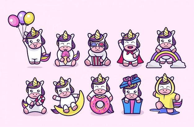 Pequeño diseño lindo de la mascota del unicornio