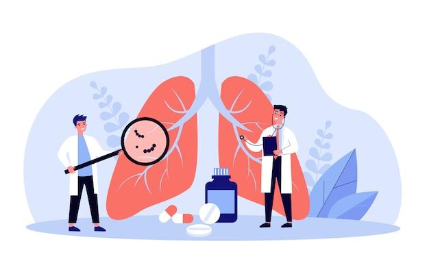 Pequeño doctor revisando el sistema respiratorio