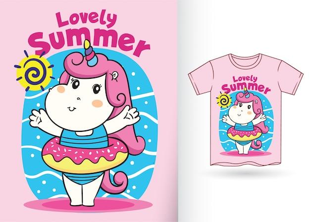 Pequeño ejemplo lindo de la historieta del unicornio para la camiseta