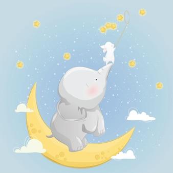 El pequeño elefante ayuda al conejito a atrapar estrellas.