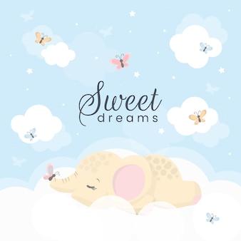Pequeño elefante lindo en la nube. ilustración de dulces sueños para niños.
