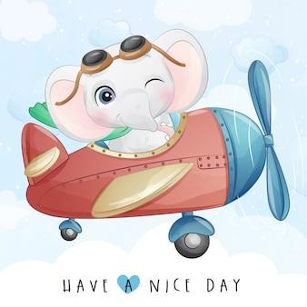 Pequeño elefante lindo que vuela con la ilustración del aeroplano