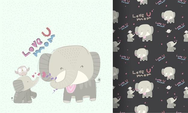 Pequeño elefante con patrones sin fisuras de encantadora mamá