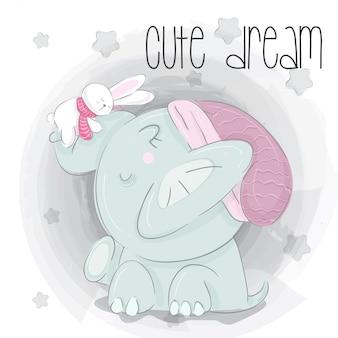 Pequeño elefante sueño mano dibujar ilustración