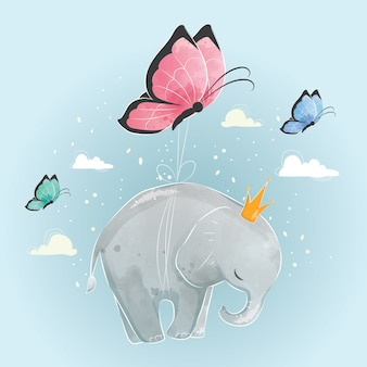 Pequeño elefante volando con mariposas