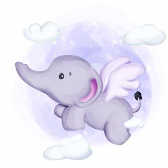Pequeño elefante vuela hacia el cielo