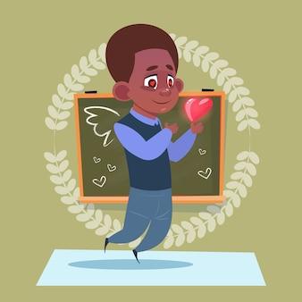 Pequeño, escuela, amor, en forma de corazón, posición