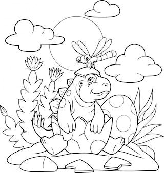 Pequeño estegosaurio lindo