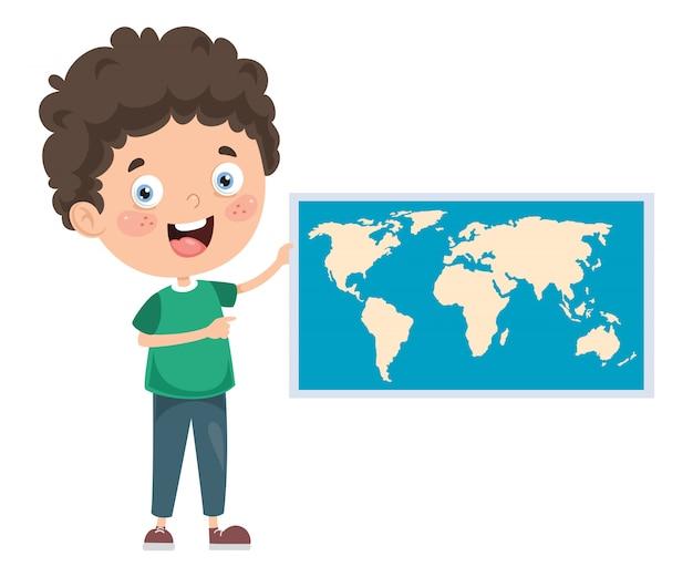 Pequeño estudiante estudiando geografía