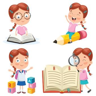 Pequeño estudiante estudiando y leyendo