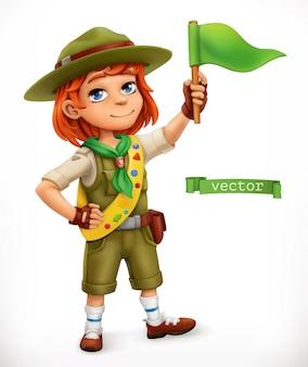 Pequeño explorador con bandera verde. personaje cómico, ilustración 3d