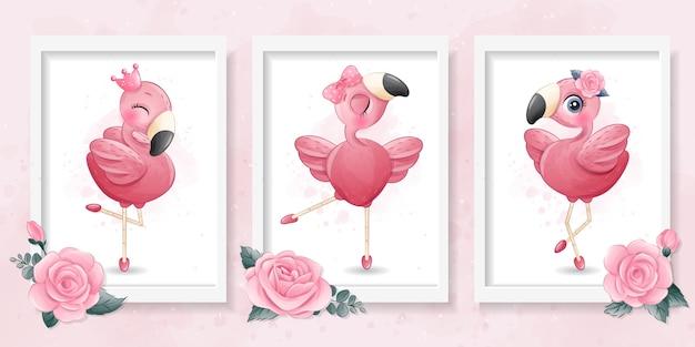 Pequeño flamenco lindo con ilustración de bailarina