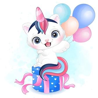 Pequeño gatito lindo con ilustración acuarela
