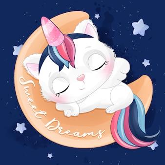 Pequeño gatito lindo que duerme en la luna con la ilustración de la acuarela