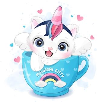 Pequeño gatito lindo que se sienta en una ilustración de la taza