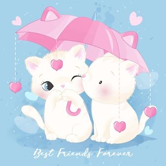 Pequeño gatito lindo que sostiene un paraguas
