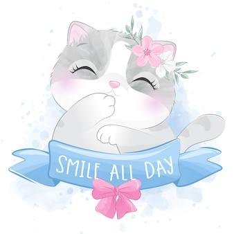Pequeño gatito lindo con retrato floral