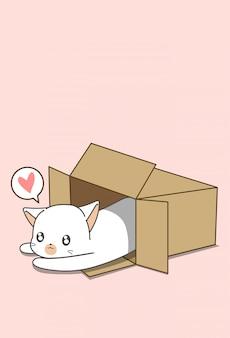 Pequeño gato blanco en caja en estilo de dibujos animados.