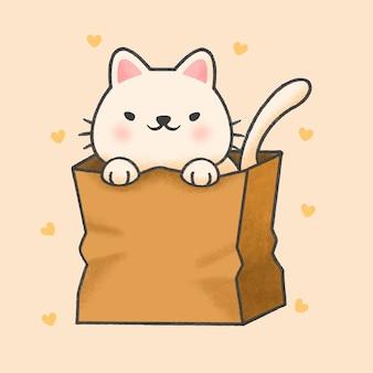 Pequeño gato en una bolsa de papel de dibujos animados estilo dibujado a mano