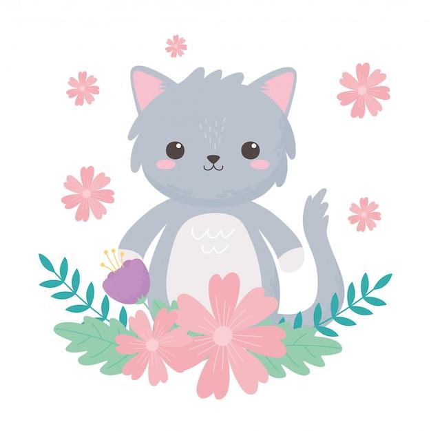 Pequeño gato gris con flores y follaje ilustración de vector de animales de dibujos animados