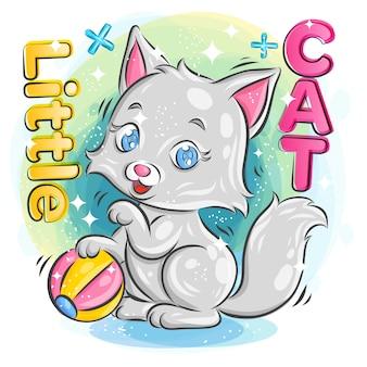 Pequeño gato lindo que juega una bola colorida con la expresión feliz. ilustración de dibujos animados coloridos