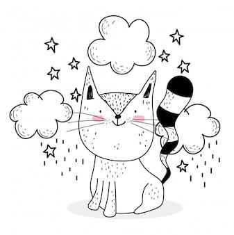 Pequeño gato nubes estrellas lindos animales bosquejo fauna silvestre dibujos animados adorable