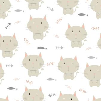 Pequeño gato de patrones sin fisuras, fondo animal.