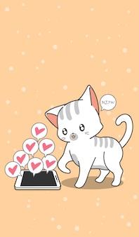 Pequeño gato y teléfono móvil en estilo de dibujos animados.