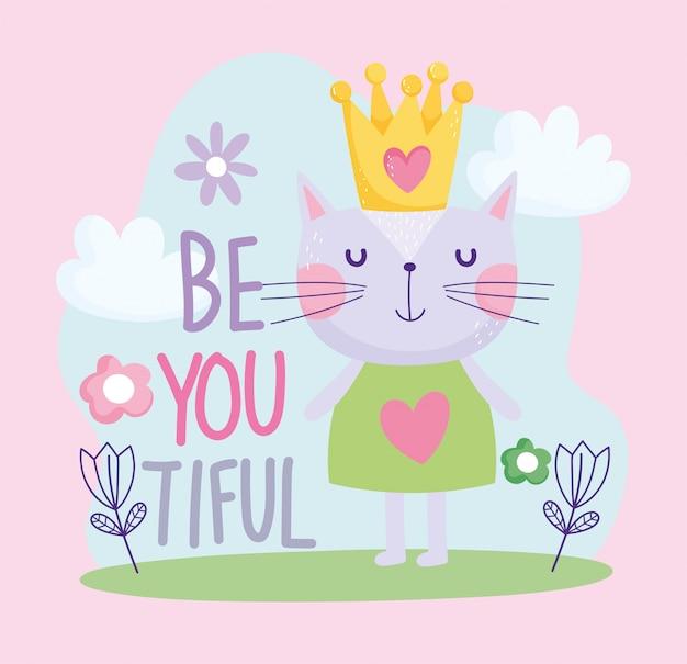 Pequeño gato con texto lindo de dibujos animados de flor de corona