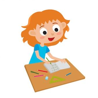Pequeño genio lindo. ilustración de vector de adorable niña pelirroja feliz escribiendo matemáticas con lápiz verde aislado en blanco