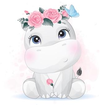 Pequeño hipopótamo lindo con flor