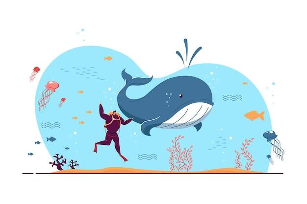 Pequeño hombre explorando la ilustración plana de la fauna marina
