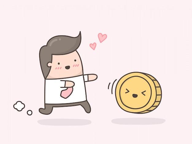 Pequeño hombre tratando de atrapar una moneda.