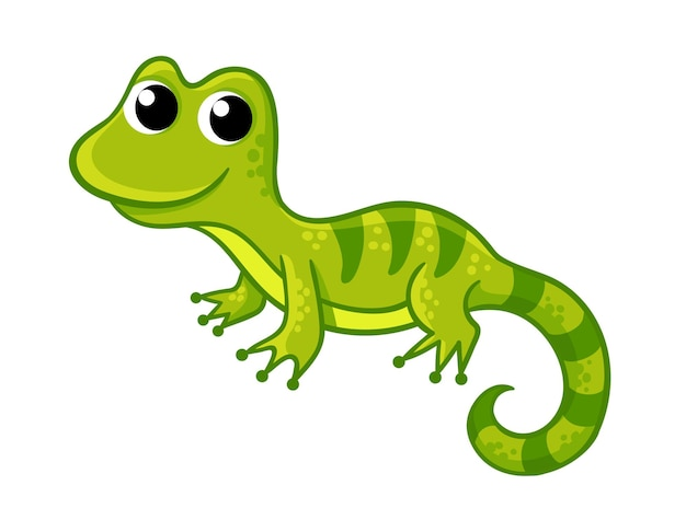 Pequeño lagarto verde divertido en un estilo de dibujos animados sobre un fondo blanco