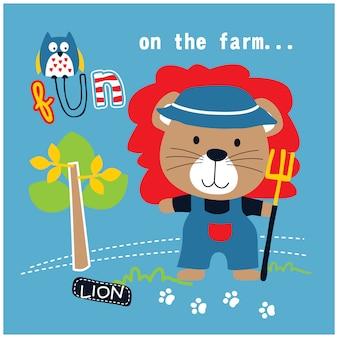 Pequeño león en la granja de dibujos animados de animales divertidos, ilustración vectorial