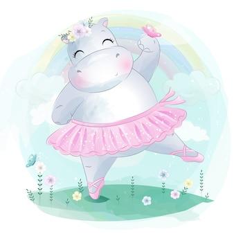 Pequeño y lindo baile de ballet de hipopótamo