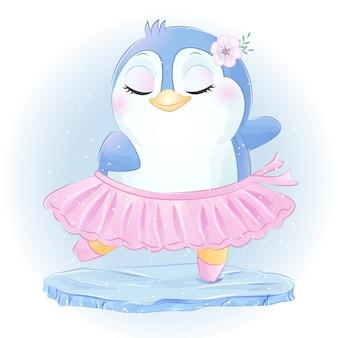Pequeño y lindo baile de ballet de pingüinos