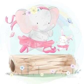 Pequeño y lindo ballet de elefante bailando con conejito