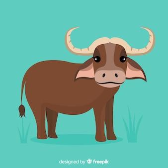 Pequeño y lindo bebé búfalo de dibujos animados